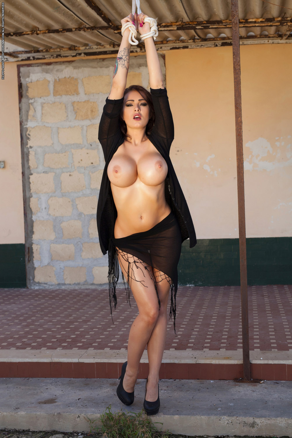 Properties Girla with big boobs and naked and tied up