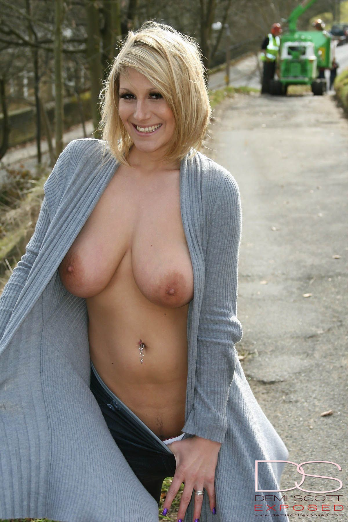 Milf flashing busty