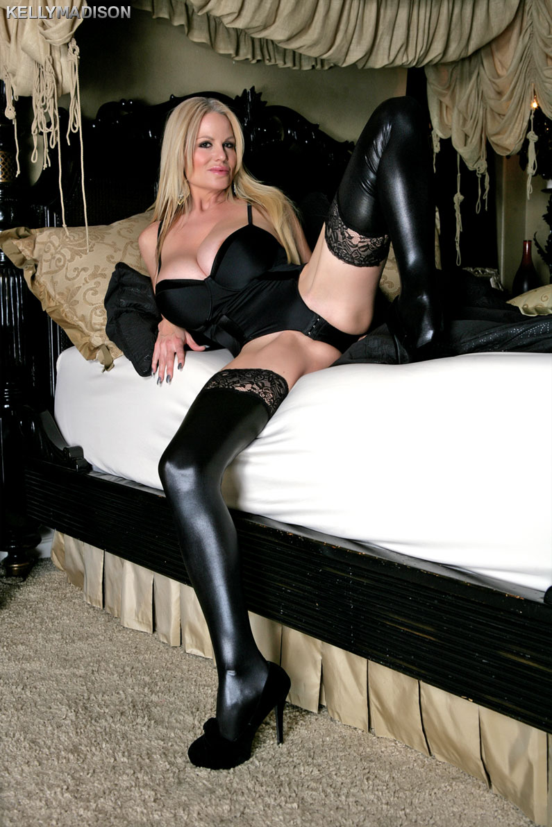 horny black leather - Kelly Madison Black Bedroom Lingerie ...