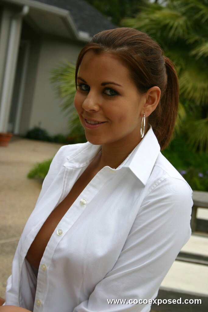 Blouse of her busting out