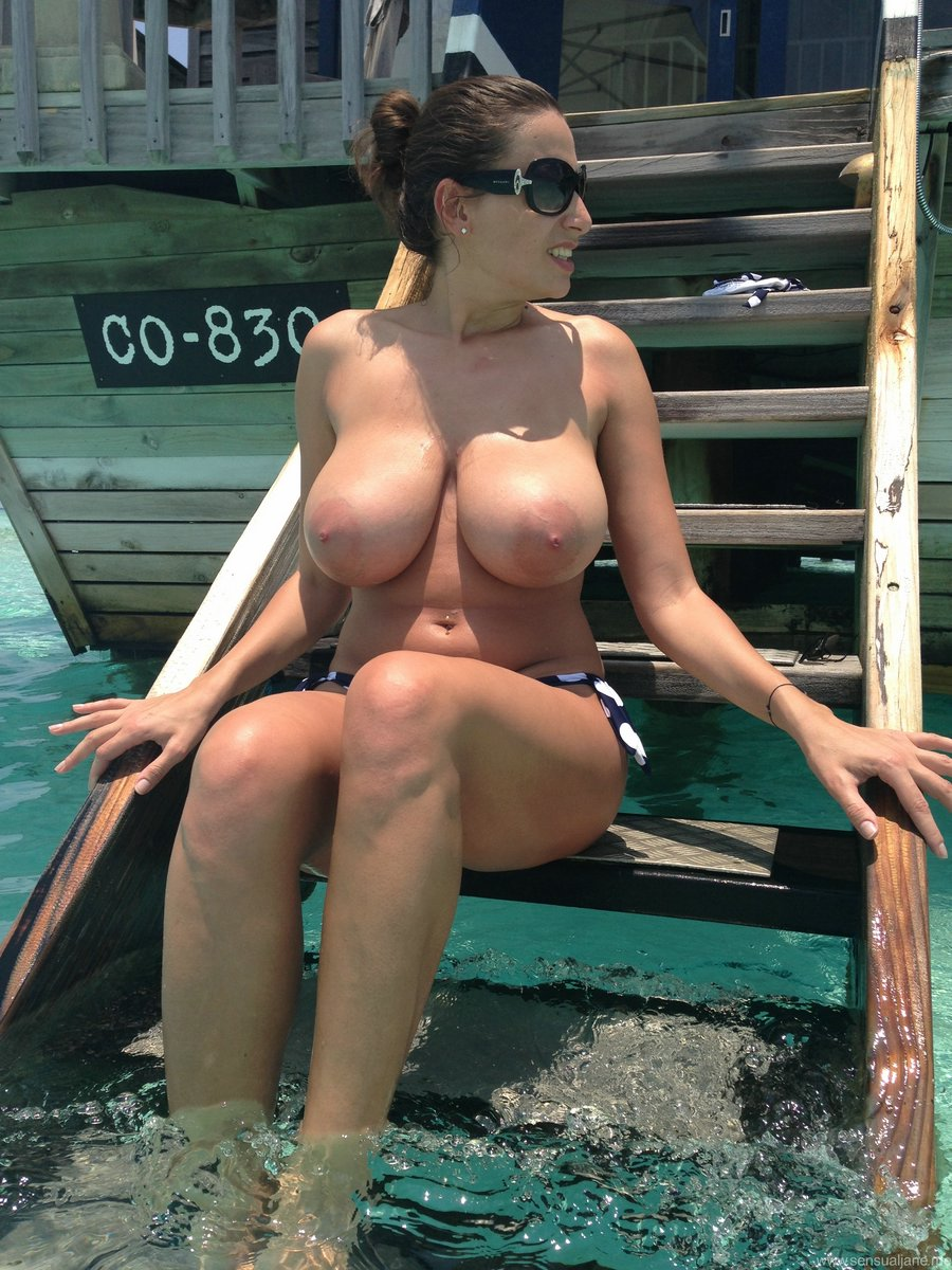 Would busty wife topless beach would like
