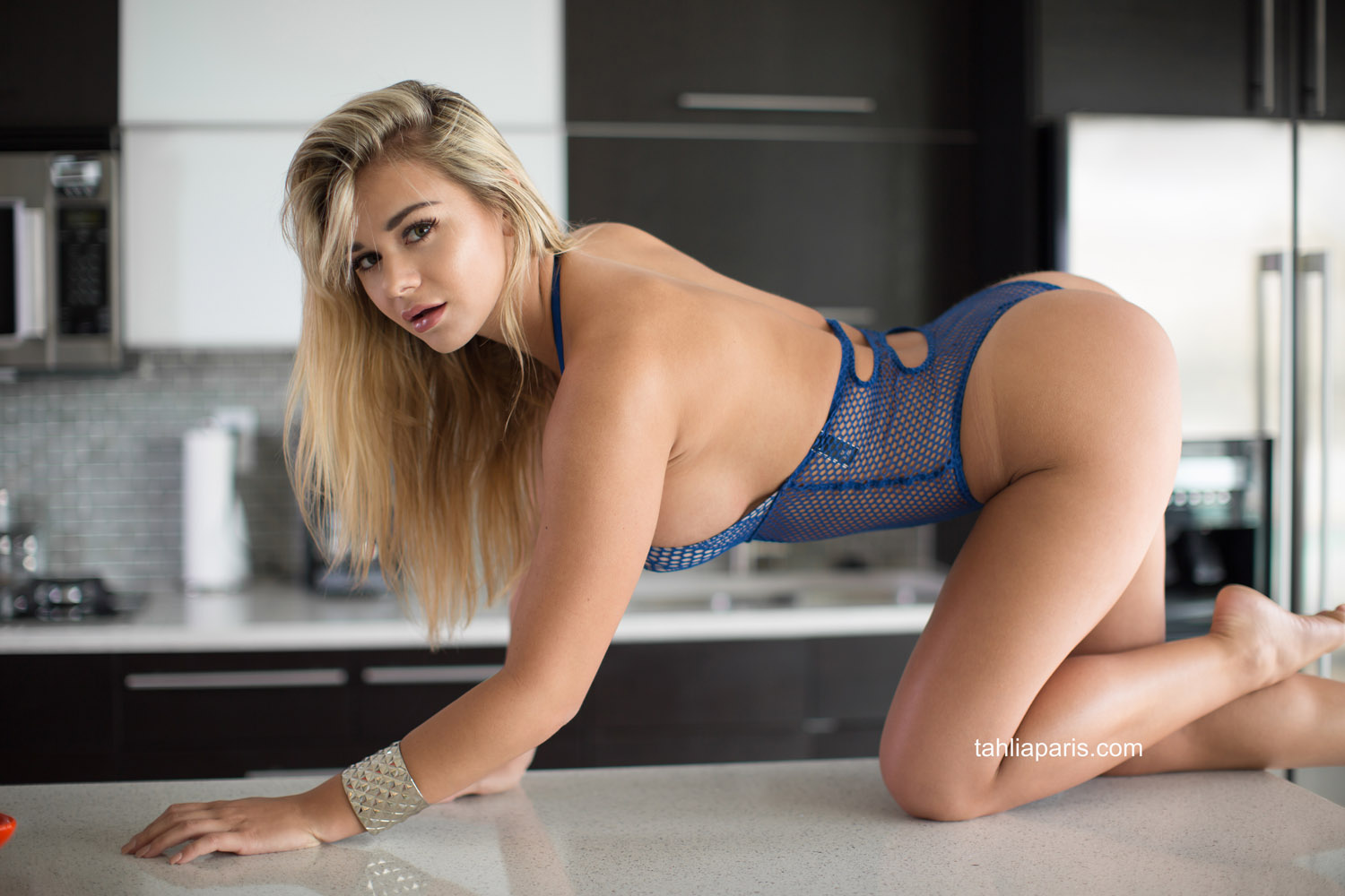 Naked girls in blue things
