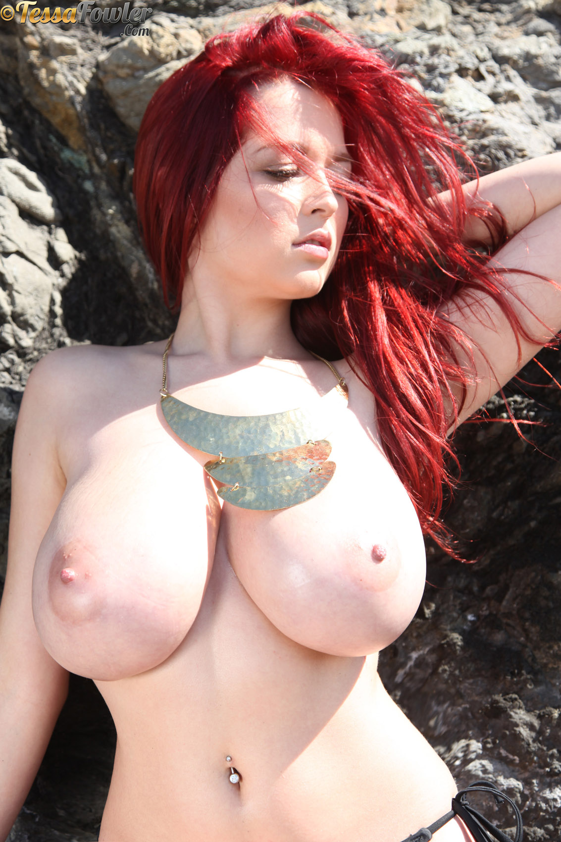 Auburn Hair Great Tits - ... Tessa Fowler Topless Gold