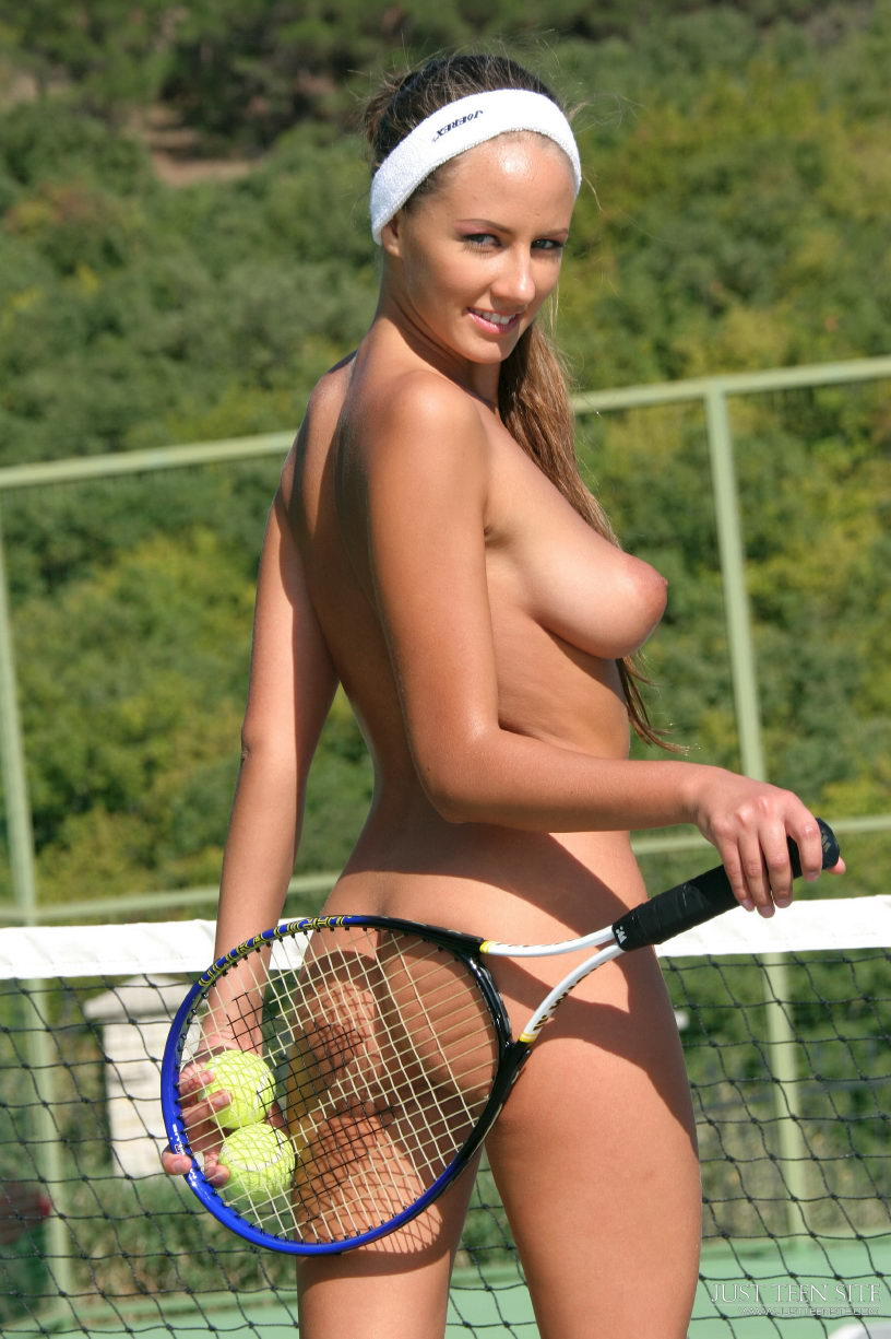 Naked tennis player